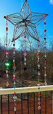 STAR SUNCATCHER-STARS,MOON-CRYSTAL-MULTI-COLOR-HANDCRAFTED-3 DIMENSIONAL # 907