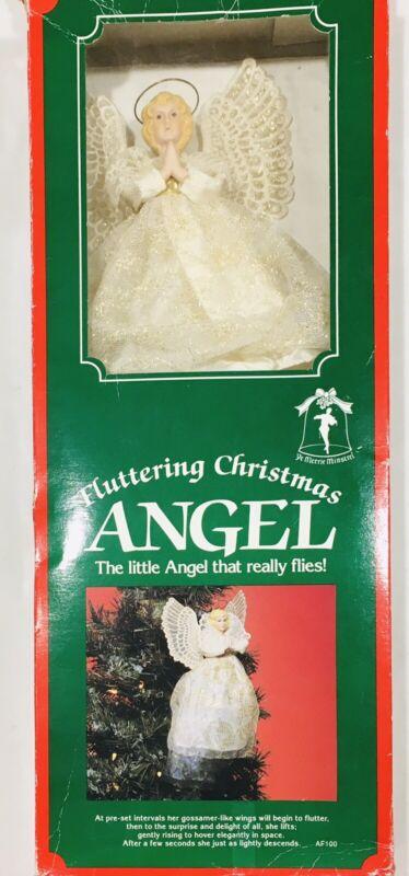 """1991 Ye Merrie Minstrel 7"""" Fluttering Christmas Angel Animated Tree Decor WORKS"""