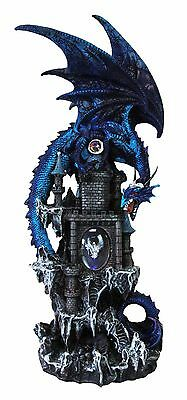 """Large 20""""H Blue Waterfall Spyro Dragon On Castle Statue With LED Night Light"""