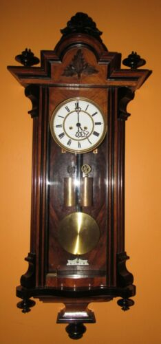 ANTIQUE FURTWAENGLER TWO WEIGHT VIENNA WALL REGULATOR CLOCK 8-DAY, TIME/STRIKE