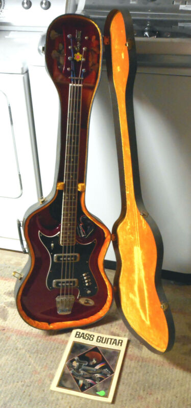 Hagstrom H8 Bass Guitar, 1967, Cherry Red, Chip Board Case