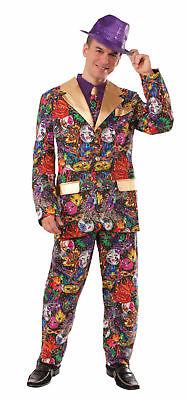 Mardi Gras Adult Costume Adult Suit Jacket Pants Tie Mask Feather Print Gold - Mardi Gras Pants