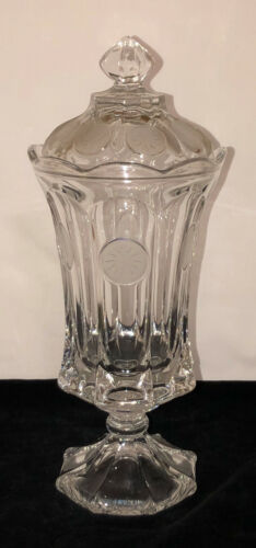 """Fostoria CRYSTAL FROSTED COIN *13 1/2"""" FOOTED URN W/LID"""