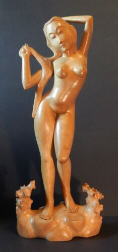 "Hand Carved Teak Wood or Sandalwood Nude Woman Indonesia 24"" Tall"