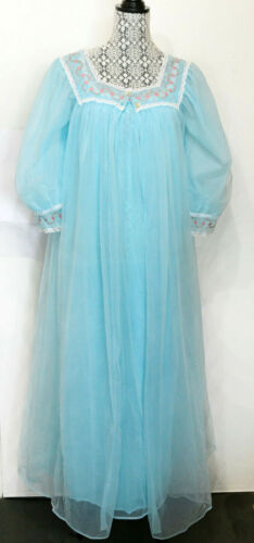 💠Slumber Suzy~Peignoir Set~2PC Nylon Chiffon Babydoll Nightgown Aqua M/L Vtg