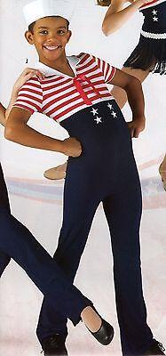 NWT Sailor Striped Jumpsuit boys Unisex Dance Costume looks like 3pcs ch/adult](Sailor Dance Costumes)