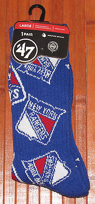 '47 Brand Mens Womens NHL New York Rangers Crew Socks 1 PR Blue M= 9-13  W=10-12