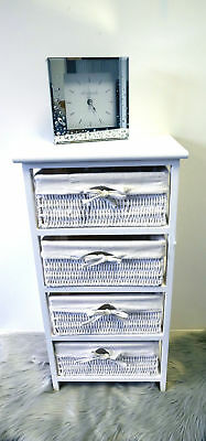 4 Drawer Wicker Storage Unit Basket Drawer White Wood Organiser Bathroom Bedroom ()