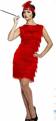 Lady Red Flapper Charleston Gatsby 1920's Girls Fancy Dress W/H Tassels Regular ()