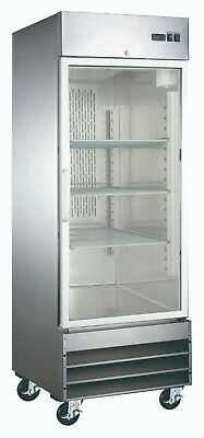 New Single Glass Door Stainless Commercial Refrigerator Cooler Nsf Reach-in Nib
