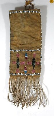 ca1900 NATIVE AMERICAN PLAINS BLACKFEET INDIAN BEAD DECORATED HIDE TOBACCO BAG