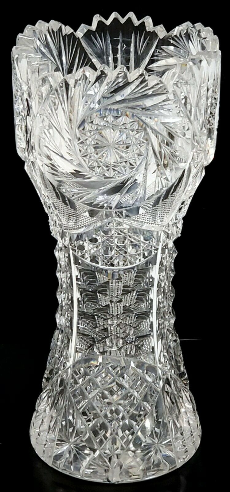 STUNNING ANTIQUE ABP AMERICAN BRILLIANT CUT GLASS CORSET VASE THICK FINELY CUT - $213.50
