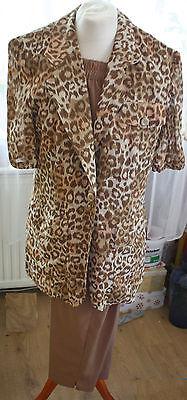 Jean Claire, leichter Hosenanzug, Kostüm, braun, Leopardenprint, Gr. - Leopard Anzug Kostüm