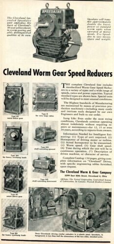 1952 Print Ad of Cleveland Worm & Gear Company Speedaire Speed Reducers OH