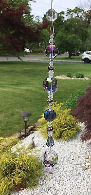 Healing Purple Crystal Flower Cut Suncatcher/Prism W/Clear Crystal Ball USA
