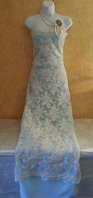 Ivory Beaded Lace Crystal Vintage Style Blue Sheath Bridal Wedding Gown