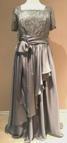 Mother of Bride Dress Ball Gown Short Sleeves Lace Chiffon Bow A-Line Silver 14