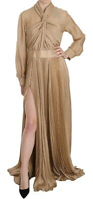 DSQUARED2 Dress Gold Pleated Front Slit Long Sleeve Gown IT44/ US10/ L RRP $3250