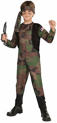 Boys Army Soldier Costume Military Ranger Camouflage Camo Green Halloween Kids](Military Halloween Costumes For Boys)