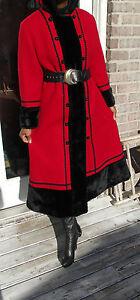 Hooded-Full-length-Vintage-Russian-Princess-wool-blend-Black-trim-Coat-S-8