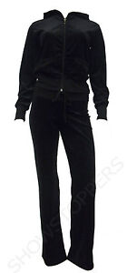 NEW Womens TRACKSUIT VELOUR Hoodie POCKET Ladies SUIT Black Size 16 18 20 22