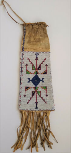 Early Native American Lakota Sioux Old Beaded Fringed Long Indian Peace Pipe Bag