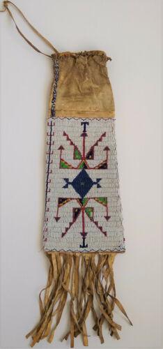 Native American Lakota Sioux Old Beaded Fringe Long Indian Peace Pipe Bag