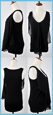 Women's Cha Cha Vente Sleeveless Knit Chiffon Front Top Blouse Size Small (6-8)