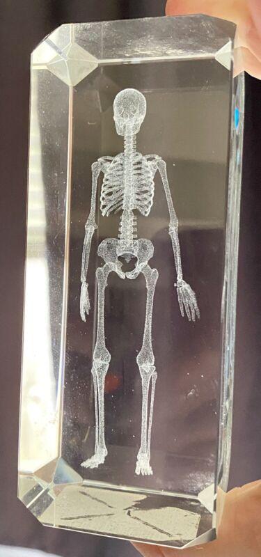 Skeleton Hologram Glass Paperweight Halloween Decor