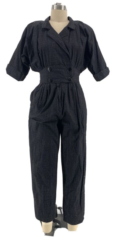 Vintage 80s Wild New Wave Pleated Womens Cotton Jumpsuit USA Made SZ M