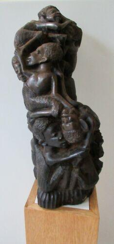 "Antique Makonde""Tree of Life""(Ujamaa)-EBONY Wood-Fine Large Piece V. Collectable"