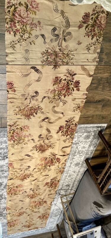 "Antique French 19th C Floral Silk Brocade Fabric 29.5"" By 156"" Floral Baskets"
