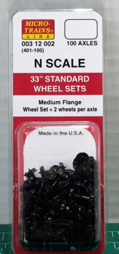 "N Scale Micro Trains 33"" Standard Wheel Sets 100 Axles Item#00312002 (401-100)"