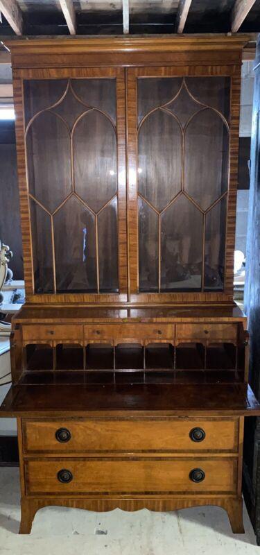 Vintage English Style Mahogany & Satinwood Drop Front Butlers Secretary Desk