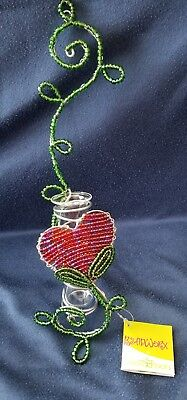 (Heart Bud Vase * Beadworx by Grass Roots Creations * New with Tags)