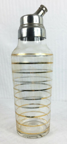 XL 11 inch Derby Gold Stripe Clear Cocktail Shaker Bar Vintage 50s