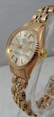 Rolex Datejust President 26mm Ladies Solid 18k Rose Gold Watch And Bracelet 1963