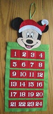 "Mickey Mouse Felt Advent Calendar Pockets Wall Hanging 20¾"" x 9½"""