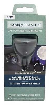 """Yankee Candle Car Powered Fragrance Diffuser Kit """"Midsummer's Night"""" / NEW"""
