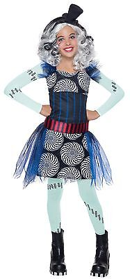 Girls Deluxe Frankie Stein Costume Monster High Fancy Dress Franky S M L - Monster High Costum