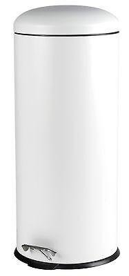 Mülleimer Abfalleimer Treteimer Papierkorb Eimer Metall 30 Liter matt weiß