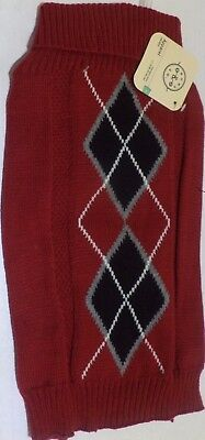Bond & Co. Red Argyle Cable Knit Dog Sweater, XX-Small,X-Small, S, M, L, 2XL (Red Argyle Dog Sweater)