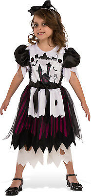 Girls Little Broken Doll Costume Spooky Scary Gothic Halloween Size Large 12-14