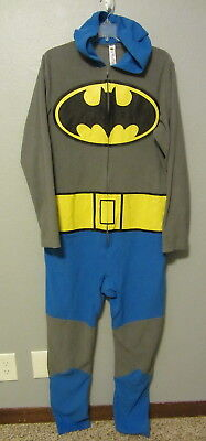 Batman retro blue/gray one piece Pajamas zips down chest with bat ears mens S](Batman Chest Piece)