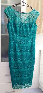 Anthea Crawford Emerald Guipure Lace Dress - Size 12 Keiraville Wollongong Area Preview