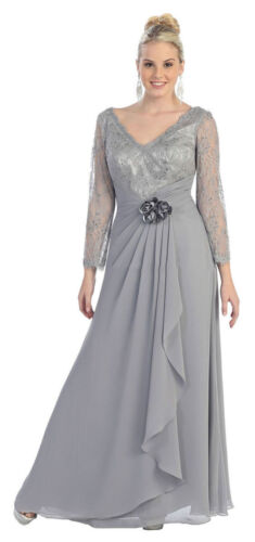 SALE ! PLUS SIZE MOTHER of the BRIDE GROOM DRESS FORMAL EVENING LONG SLEEVE GOWN