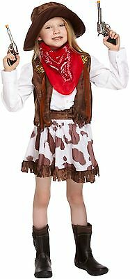 GIRLS COWGIRL OUTFIT CHILDRENS FANCY DRESS BOOK DAY COSTUME AGES 4-12 YEARS