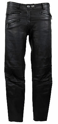 Leder D 36 (F 38) schwarze Biker in 3/4 Länge pantalon   (Hose Pantalons)