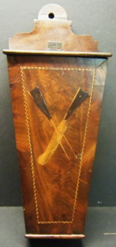 GEORGIAN MAHOGANY INLAID WALL HANGING KNIFE FORK BOX c1800