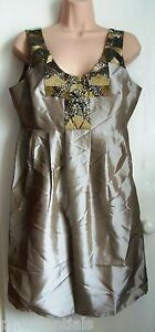 Pied-A-Terre-Sequin-Taffeta-Dress-Gold-Size-12-RRP-150